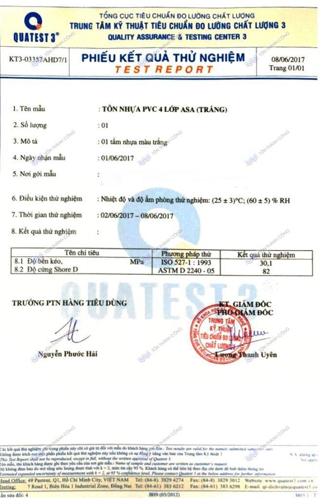 Chứng Chỉ Chất Lượng, kiểm tra Độ Bền Kéo của Tôn PVC