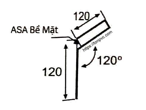 Bản vẽ mặt cắt của Tấm Diềm Hiên Mái, phụ kiện Ngói Nhựa Tổng Hợp ASA/PVC