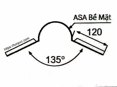 Bản vẽ mặt cắt của Tấm Úp Nóc Mái, phụ kiện Ngói Nhựa Tổng Hợp ASA/PVC