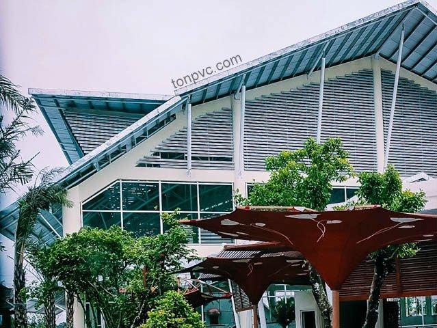 Hình 12 : hoàn thiện mái nhà Khu du lịch sinh thái Thư Duy, Cà Mau - Tôn Nhựa ASA/PVC màu Trắng Sữa