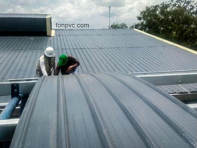 Hình 05 : lợp mái vòm mới của Nhà Máy Phân Bón Ba Con Rồng, Long An - Tôn Nhựa ASA/PVC màu Xám Đen