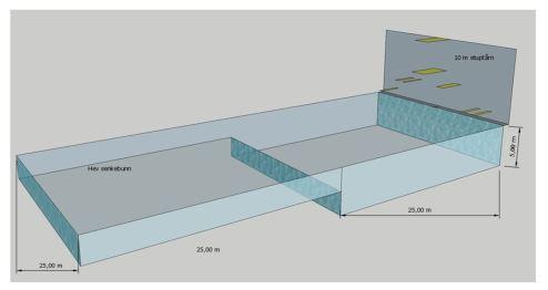 Figur 2 Stup integrert i et 50 x25 meters basseng
