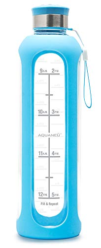 Glass water bottle with Time Measurements
