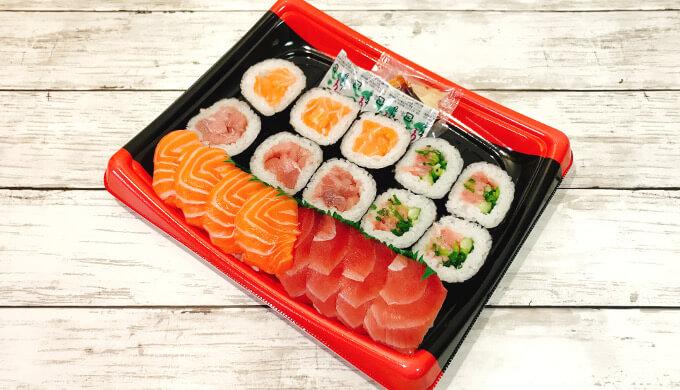 まぐろ3種とサーモン寿司(フタ開けたパック)