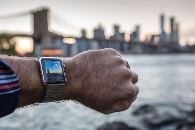 Man Wearing Apple Watch in New York City