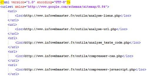 Exemple de sitemap généré avec ce script