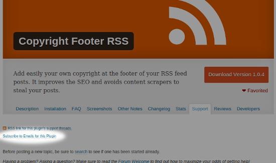 Lien d'abonnement des demandes de support sur WordPress.org