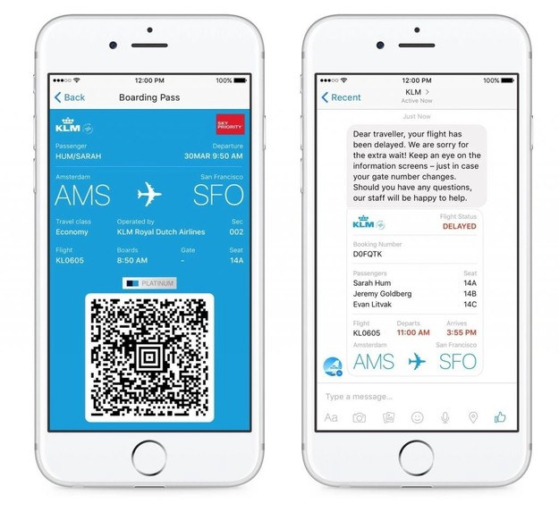 KLM은 페이스북 메신저 챗봇을 통해 다양한 정보를 제공한다. KLM provides various information about your flights on Facebook Messenger.