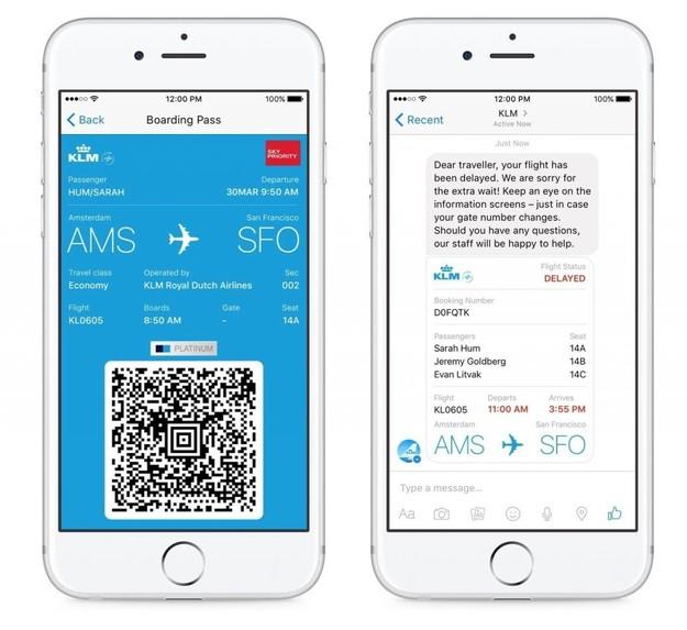 KLM은 페이스북 메신저 챗봇을 통해 다양한 정보를 제공한다. KLM provides various information about your flights on Facebook Messenger.
