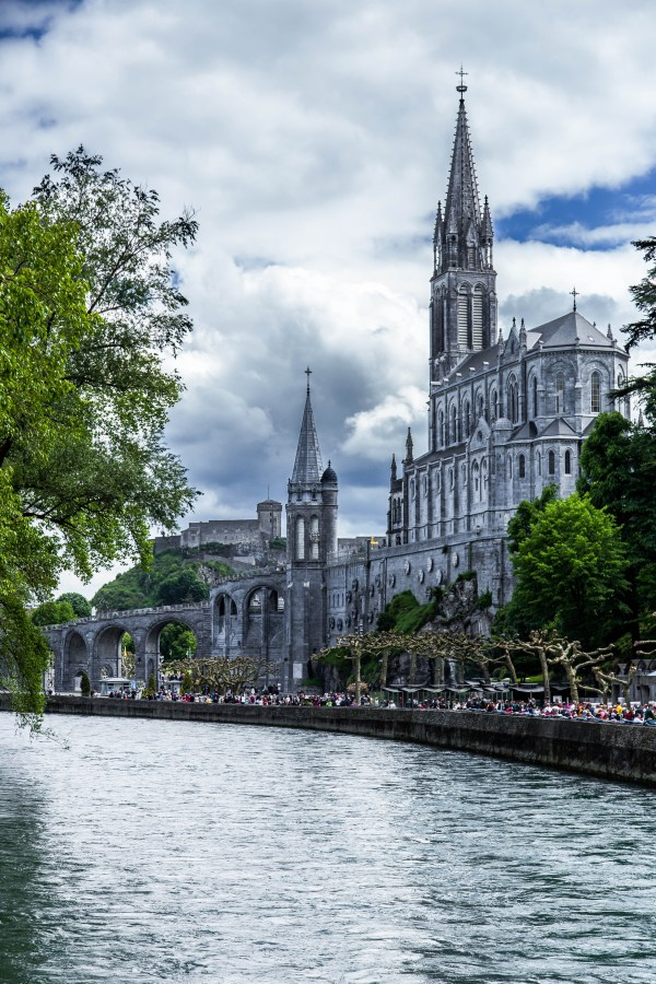 Basilica and river in Lourdes