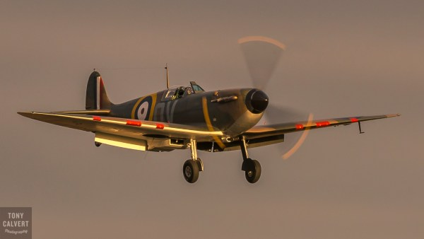 Mk 1 Spitfire landing in the late afternoon sun