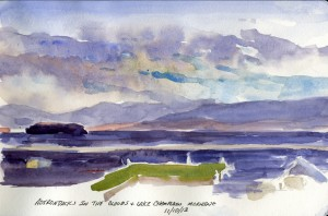 Adirondack Mountains in the Clouds - watercolor plein air landscape sketch by Tony Conner