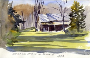 Barn and shed off Rt 100 near East Jamaica, Vermont - plei air watercolor sketch by Tony Conner