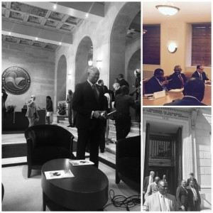 Clockwise from L-R: Tony Elumelu in the lobby at the US Chamber of Commerce; Tony Elumelu confers with Ambassador Ade Adefuye during the meeting; Tony Elumelu exits the US Chamber of Commerce with Ambassador Ade Adefuye