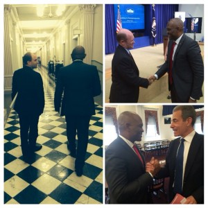 Clockwise from the left: Tony Elumelu with Ben Rhodes, US Deputy National Security Adviser for Strategic Communication; Senator Chris Coons, ranking member of the US Foreign Relations subcommittee on African Affairs; and Undersecretary of State for Public Diplomacy and Public Affairs, Rick Stengel
