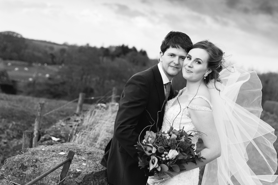 bride and groom portrait at Seiont manor wedding