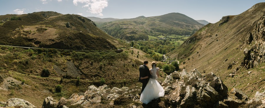 bride and groom overlooking Sychnant Pass near Conwy. Get married in North Wales