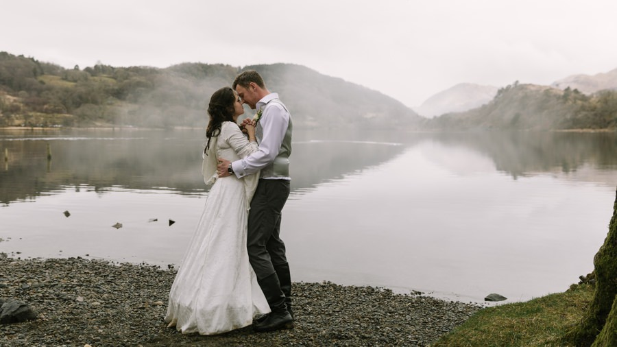 bride and groom with misty llyn gwynant. Get married in North Wales