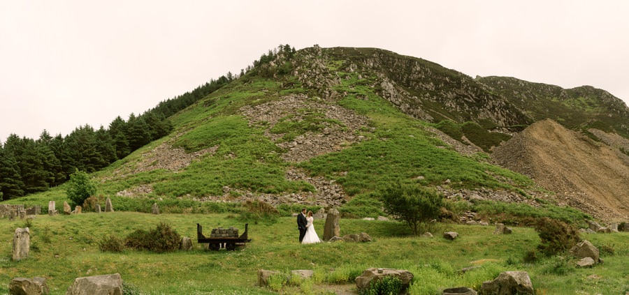 bride and groom at Nant Gwrtheyrn. Get married in North Wales