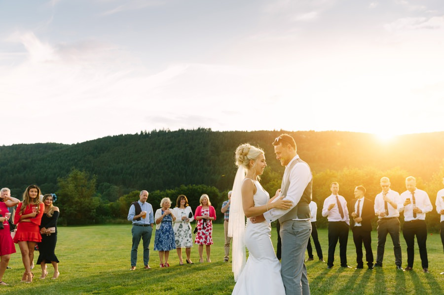bride and groom first dance outside at Hafod farm. Get married in North Wales