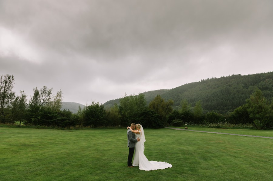 bride and groom at Hafod farm. Get married in North Wales