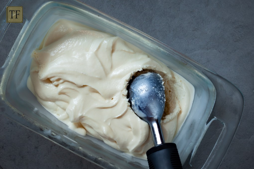 French Vanilla Ice Cream with scoop on grey background