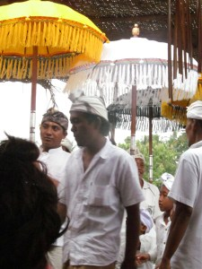 """Umbrellas are everywhere in Bali. One of our choreographic notations in our dance study is """"Check Umbrella""""-- the umbrella is a landmark for your stage position when you can see very little from the mask."""