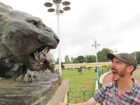Case trying to speak tiger at the Mysore Palace.