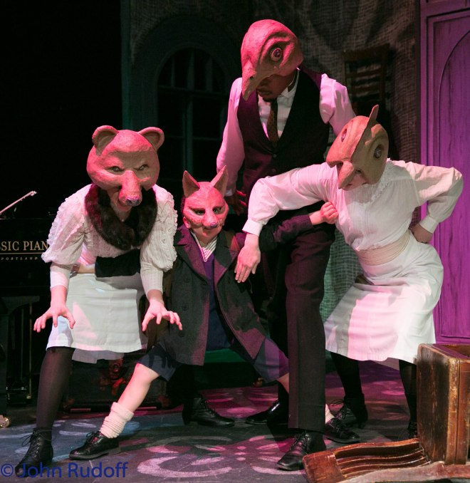 (L to R): Beth Thompson as Bear, Elisha Henig as Fox, Brian Demar Jones as Hawk, and Kira Batcheller as Hen.