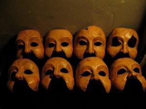Hecuba, Andromache, Cassandra and Chorus masks
