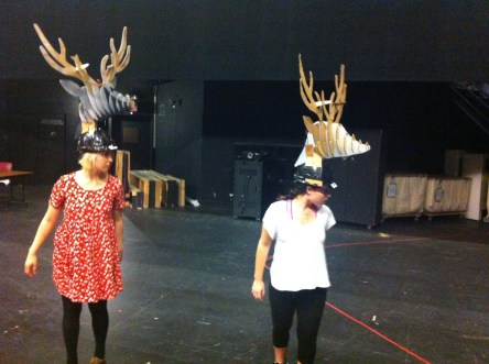 Actors working in rehearsal masks are great sources of information as a builder.