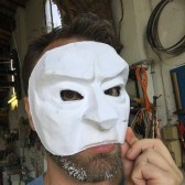 Trying out a mask design in a new method of papier mache. It will be a study for my upcoming work in leather.
