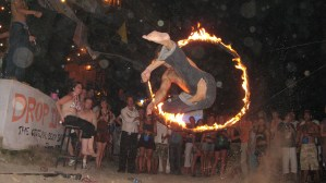 Leaping through fire hoop