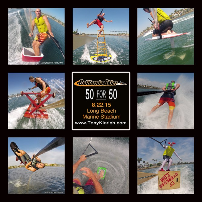 california skier 50 for 50 water skiing ice chest disc & ladder kneeboard hydrofoil picnic table barefoot water skiing sky ski guinness book crossfit pukie