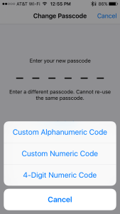 Passcode Options Apple vs FBI