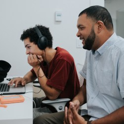 Dario Otero, editing with one of his young entrepreneurs