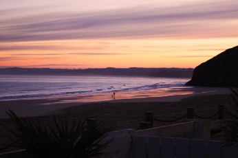 Dawn at Carbis Bay, England; writing Nimbus Hell on Earth