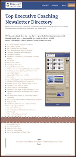 Listing of Newsletter Topics