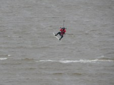 Kite surfer in flight