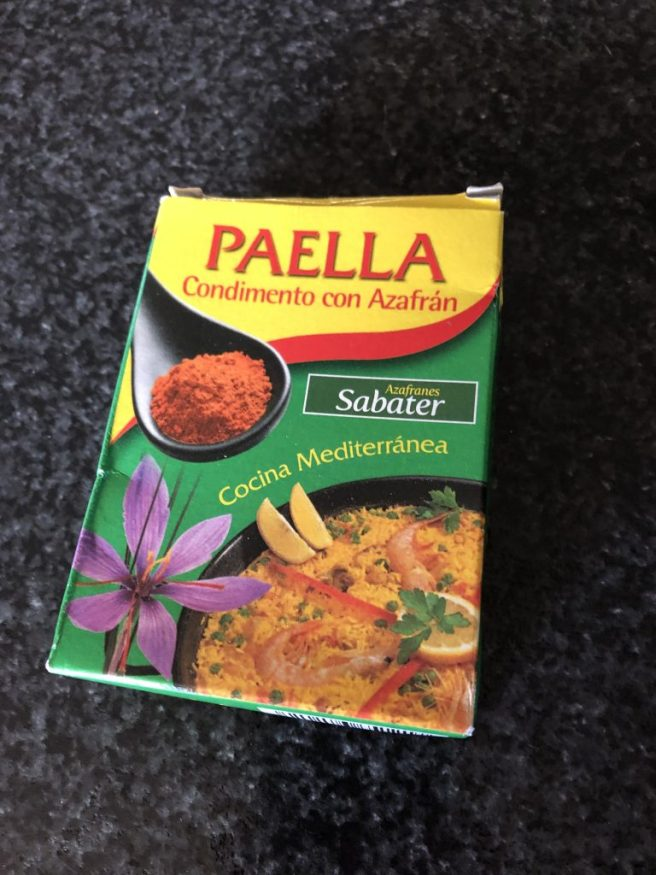 Box of paella spice mix.