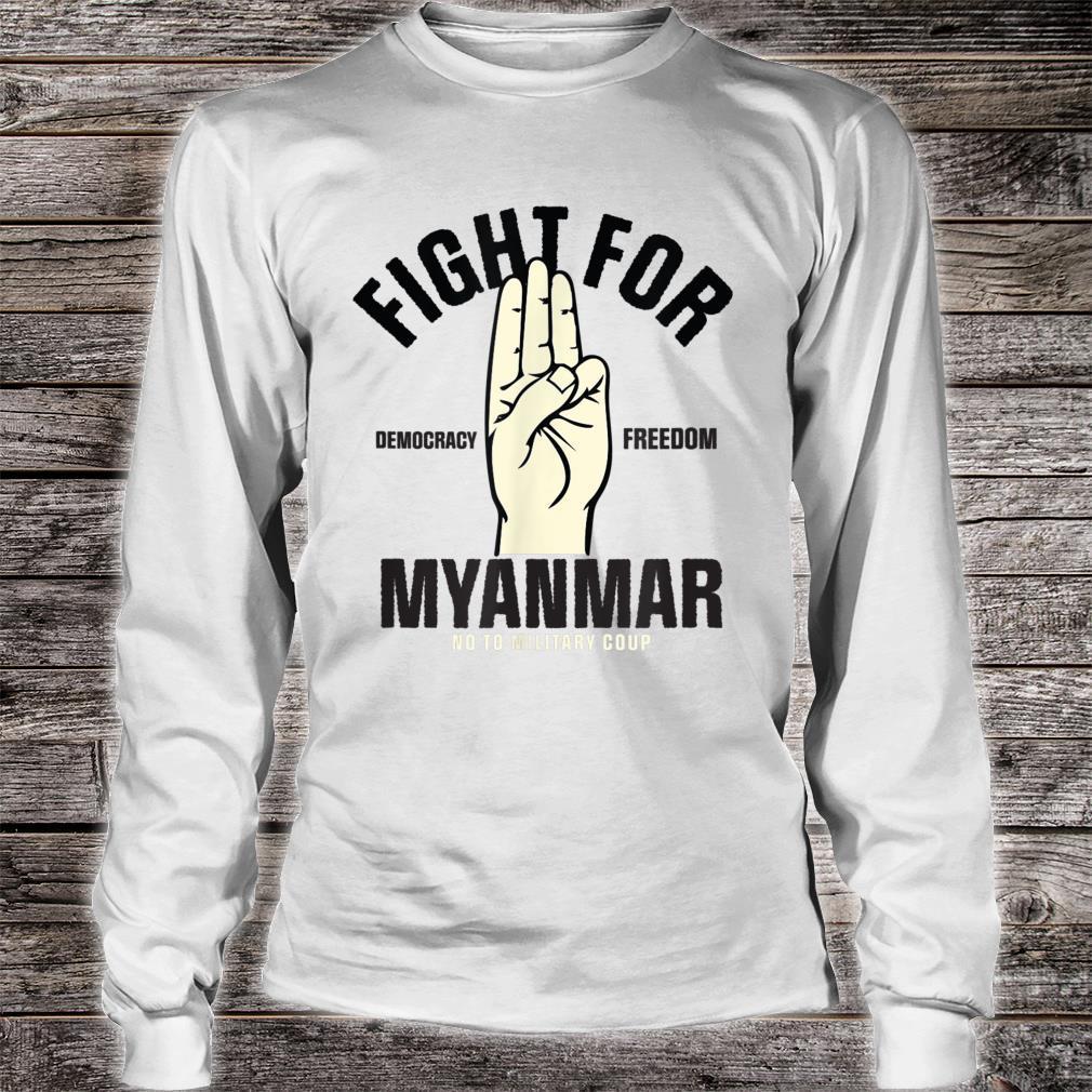 Fight For Democracy Freedom for Myanmar 3 finger salute Shirt long sleeved