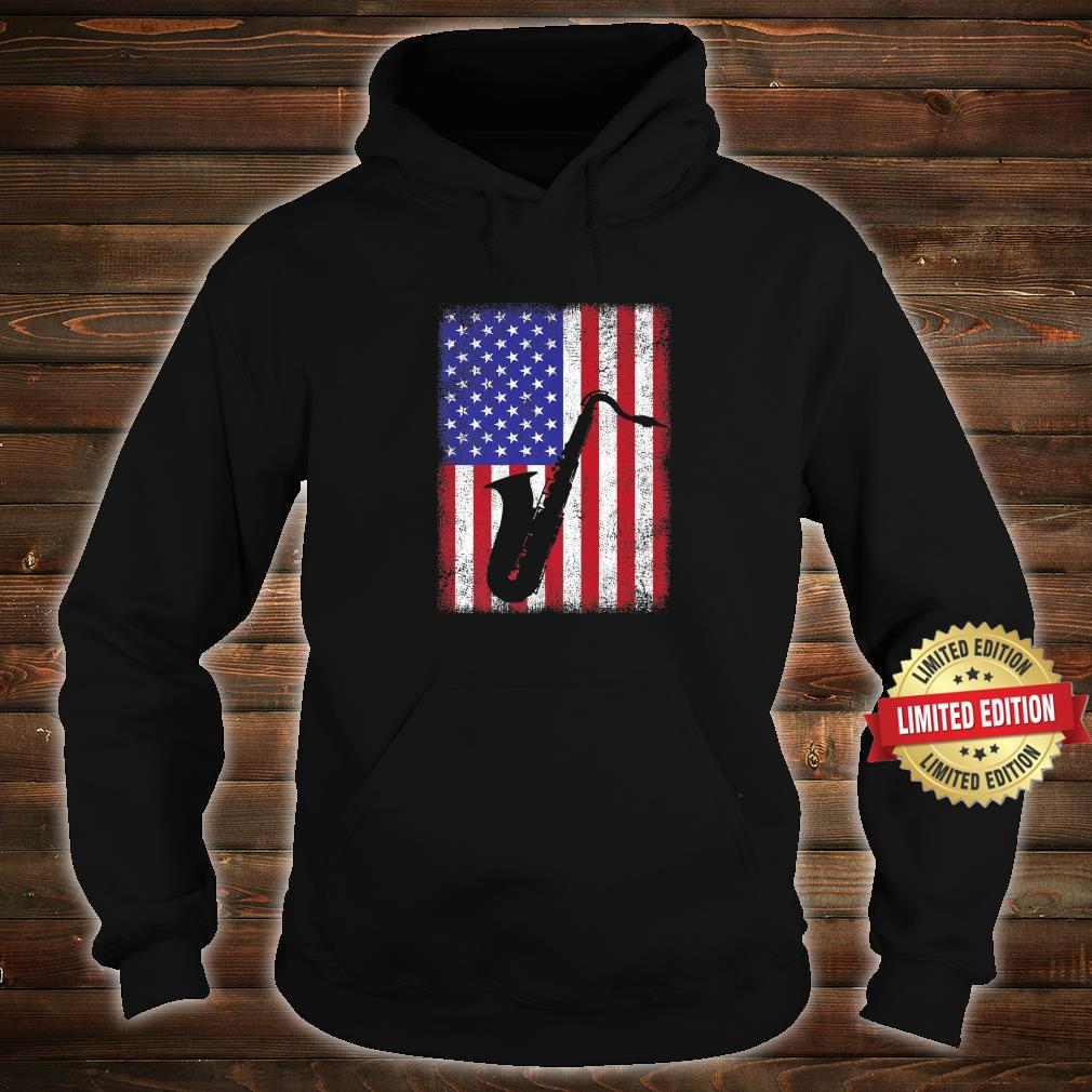 Vintage Retro American Flag Saxophone Music Shirt hoodie