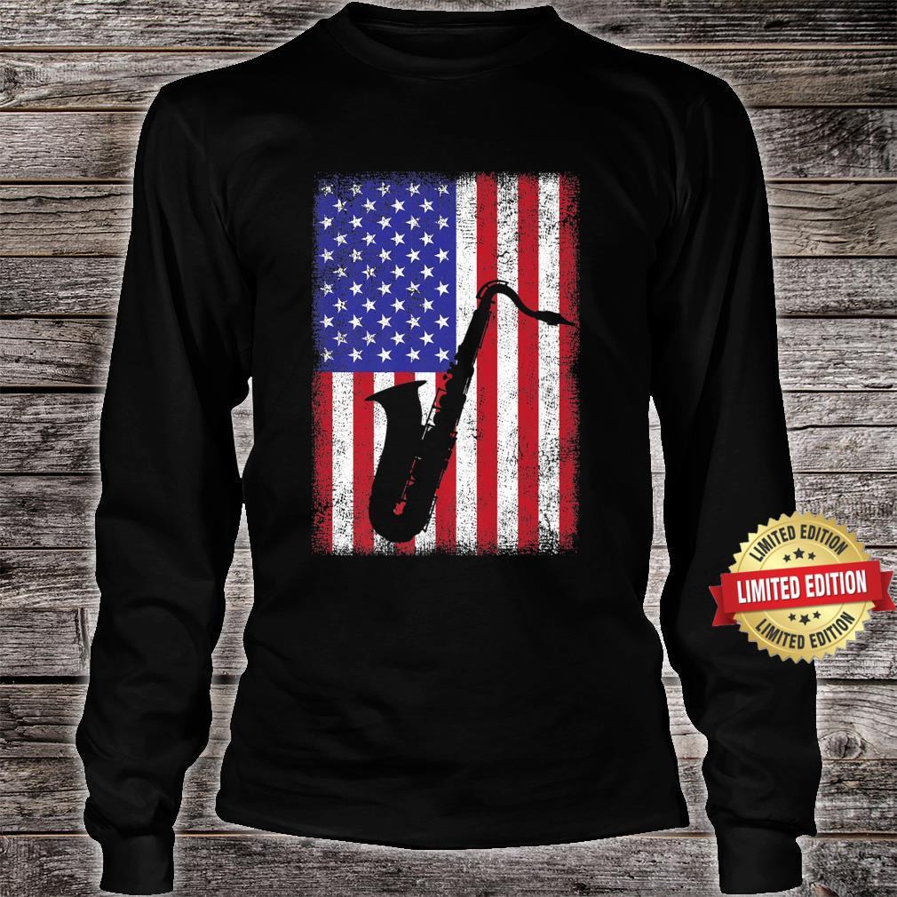 Vintage Retro American Flag Saxophone Music Shirt long sleeved