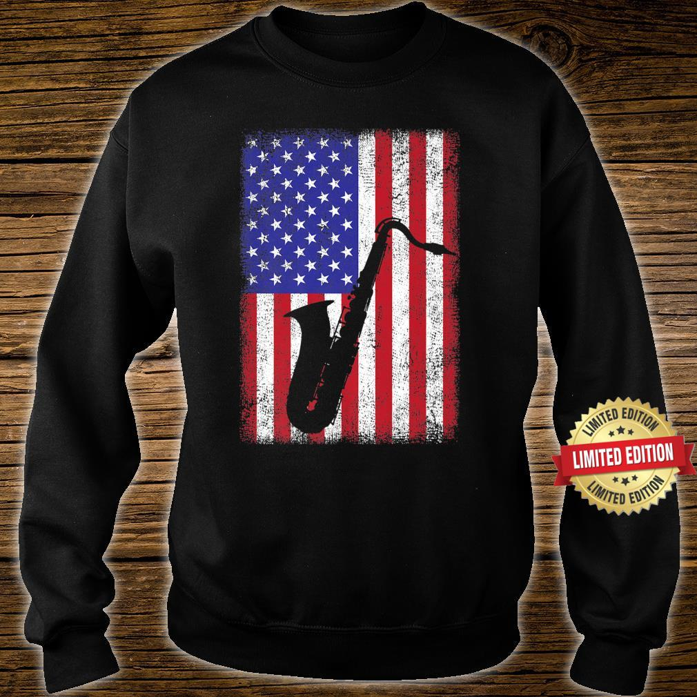 Vintage Retro American Flag Saxophone Music Shirt sweater