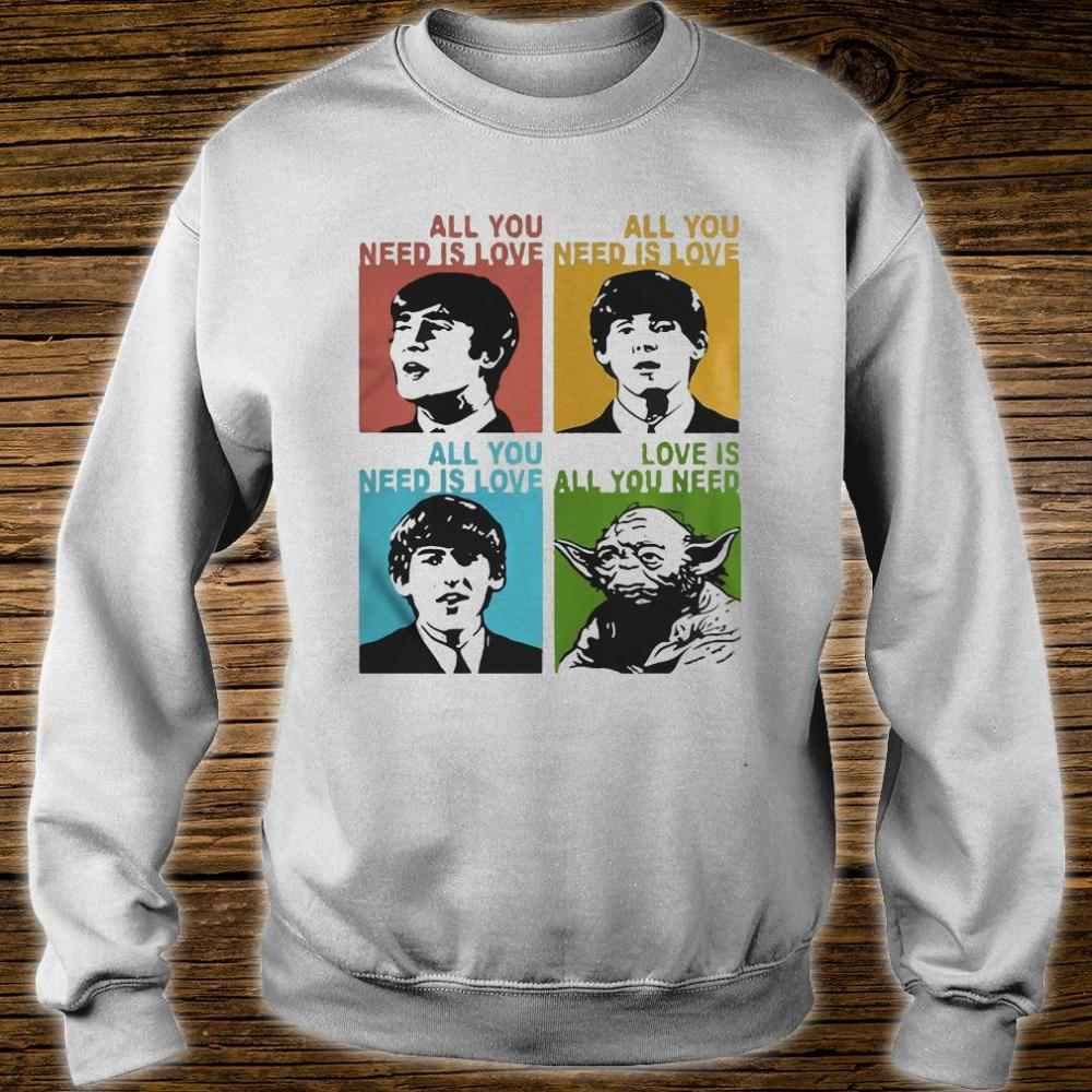 All you need is love the Beatles and Star Wars Yoda shirt sweater