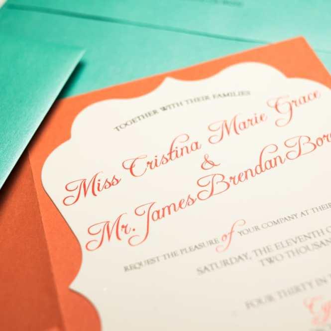 C And Turquoise Wedding Invitations