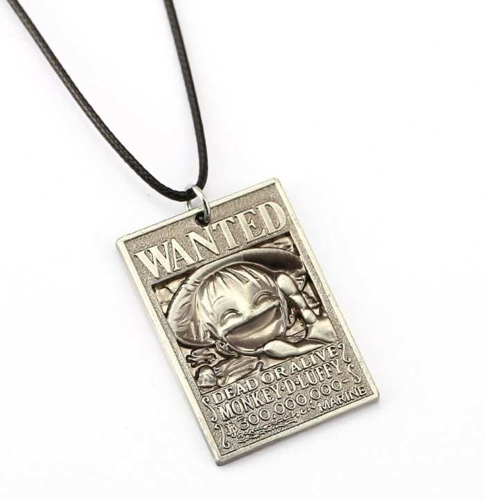 Collar Metálico Cartel Recompensa Luffy PT One Piece Anime