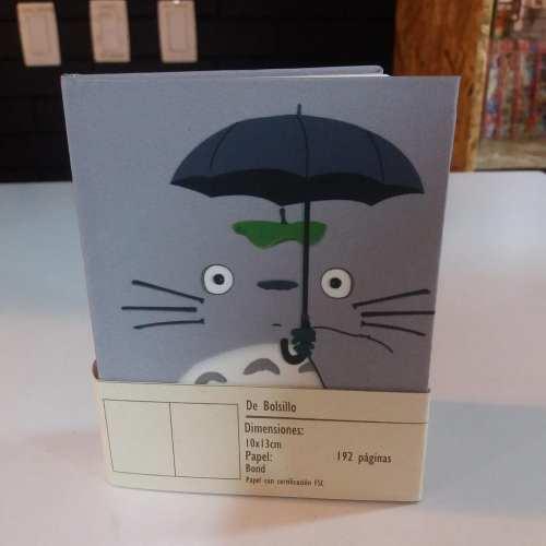 Libreta Pasta Dura en Tela Totoro con Sombrilla Posim Studio Ghibli Anime Hojas blancas 10x13