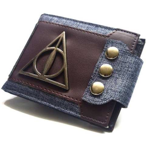 Billetera Logo Reliquias de la Muerte PT Harry Potter Fantasía con Botones para Ajustar a Cinturon