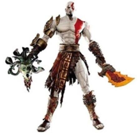 """Figura Kratos NECA God of War Videojuegos Con armadura Dorada y Cabeza de Medusa 7"""""""